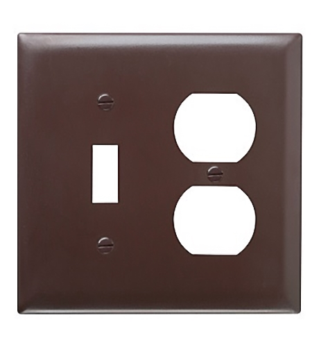 Pass & Seymour TradeMaster Brown TP18 Smooth Nylon 2-Gang Combination Toggle Duplex Wallplate