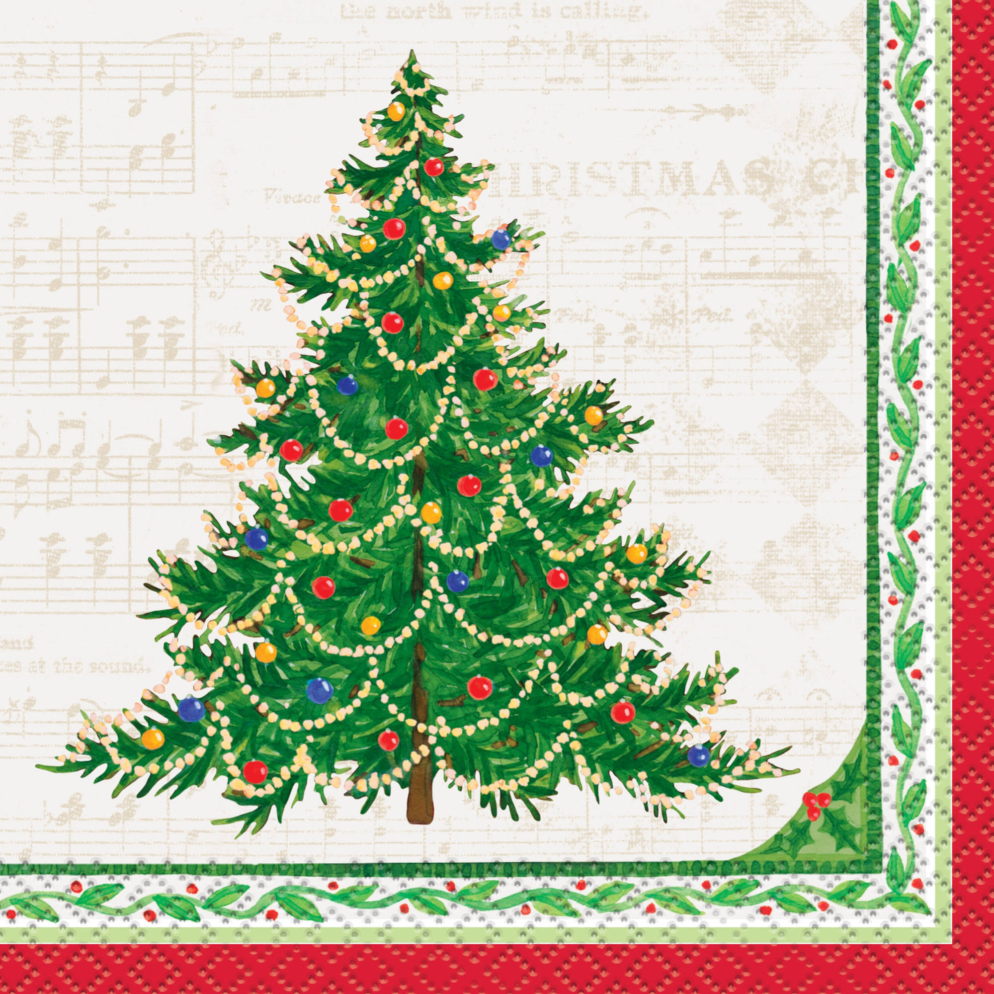 Classic Christmas Tree Cocktail Napkins, 16ct