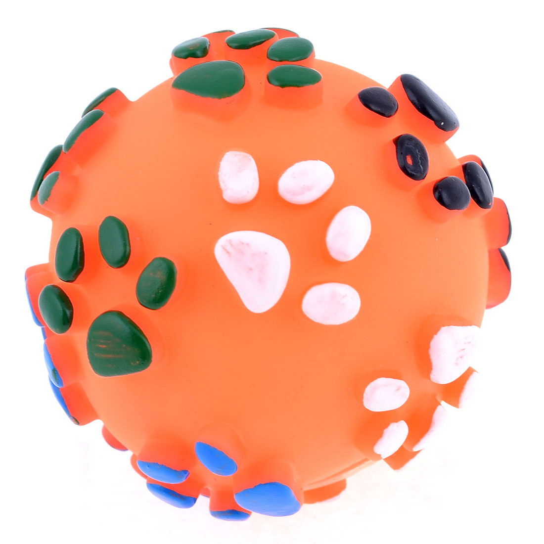 Textured Paw Design Orange Rubber Round Ball Squeaky Toy for Pet Dog Poodle
