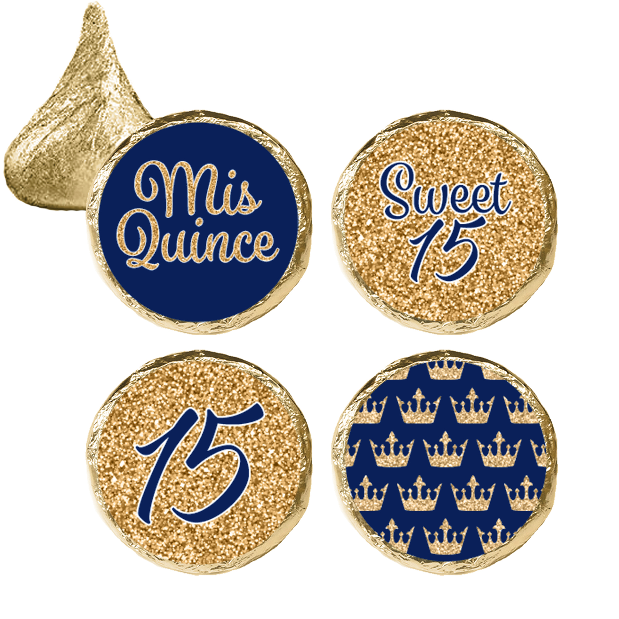 Quinceanera Party Favor Stickers, 324ct - Sweet 15 Princess Crowns Quinceanera Party Favors Navy Blue and Gold Decorations - 324 Count Stickers