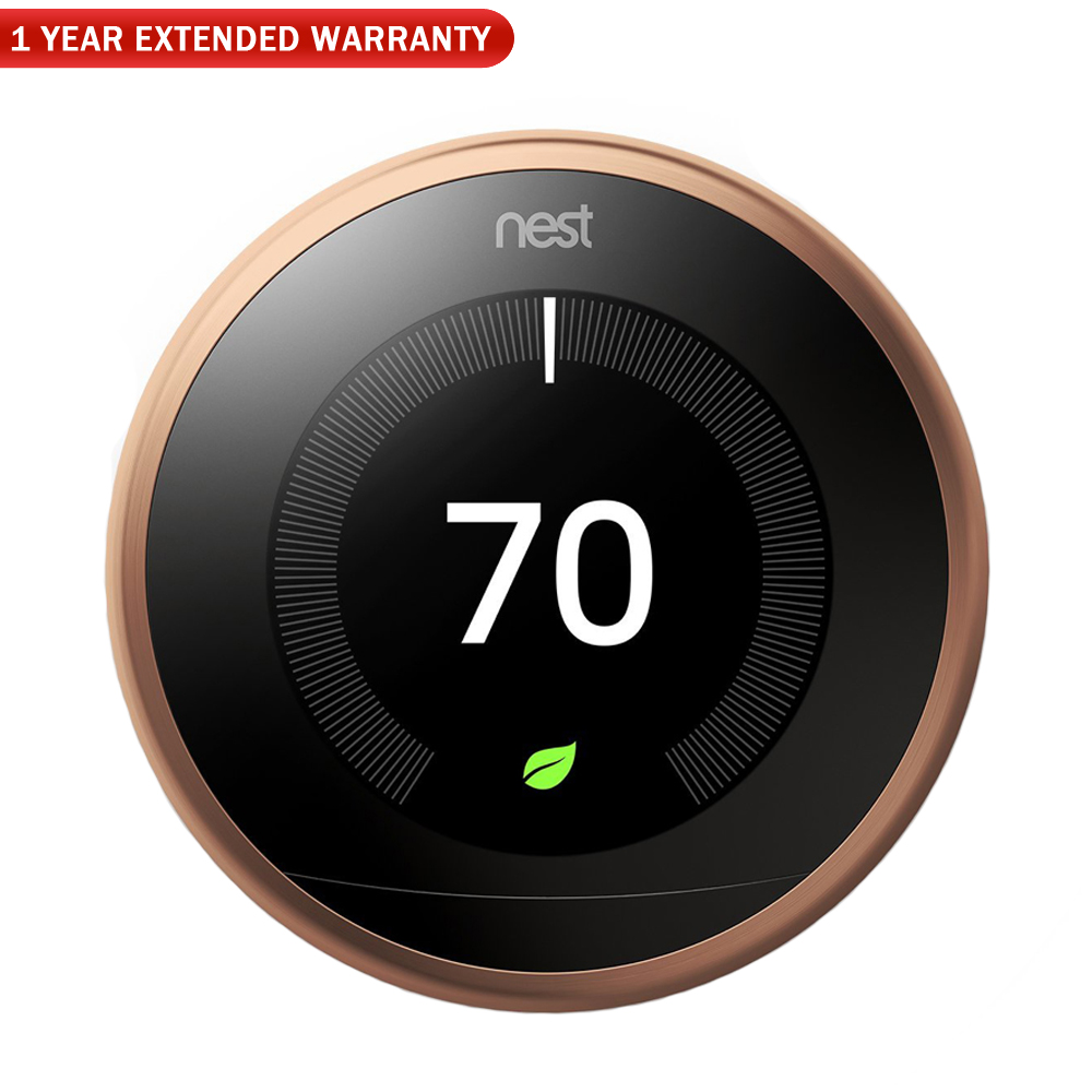 Nest T3021US Learning Thermostat 3rd Gen (Copperl) + 1 Year Extended Warranty