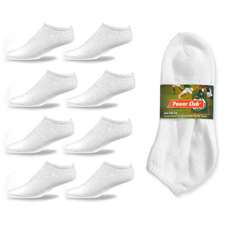 4 Pair Men Cushioned Sport Socks No Show Crew Athletic Basketball Size 10-13 WHT