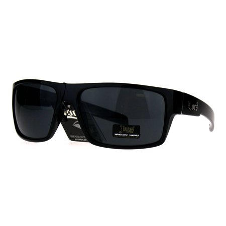Locs Sport Rectangular Gangster Cholo Plastic Sunglasses All Black