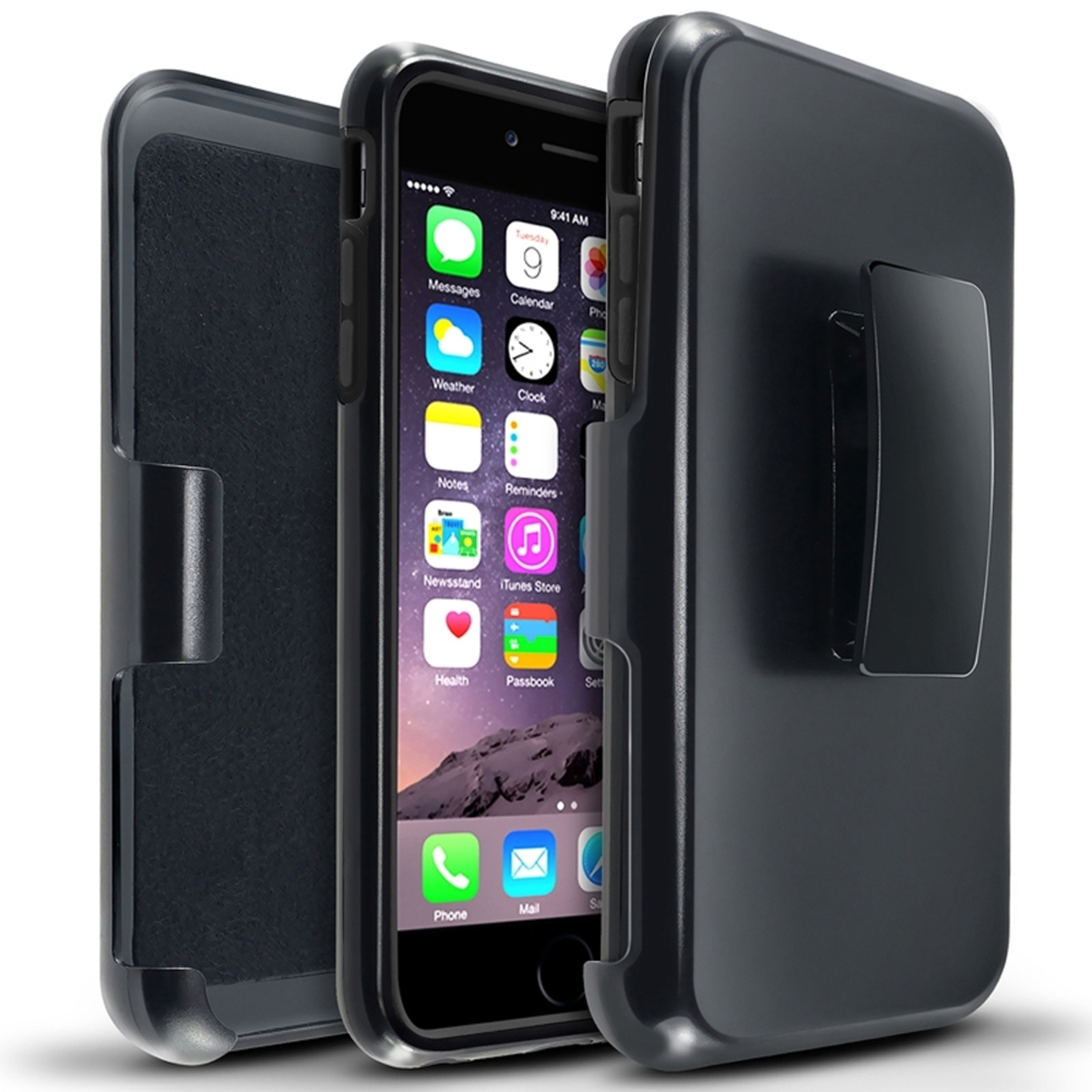 Insten Hybird Black PC Black Holster Silicone Rubber Hard Stand Case For iPhone 6S Plus / 6 Plus 5.5""