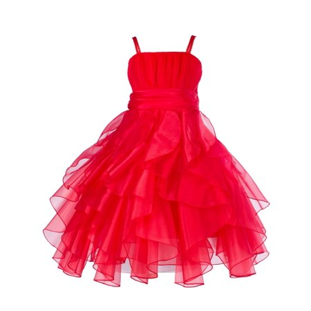 Ekidsbridal Organza Red Ruffled Bodice Christmas Junior Bridesmaid Recital Easter Holiday Wedding Pageant Occasions Communion Princess Birthday Girls Clothing Baptism 151S size 12 Flower Girl Dress - Christmas Dresses For Girls Size 10 12