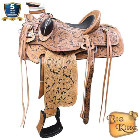 Western Horse Saddle Leather Wade Ranch Roping Tan W/ Black