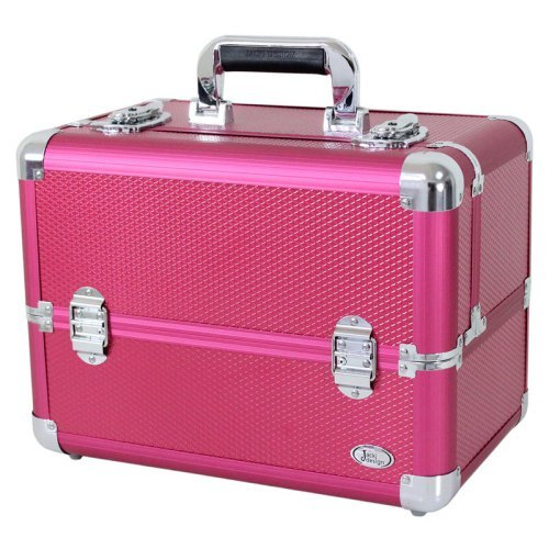 Jacki Design Small Carrying Aluminum Makeup or Salon Train Case with Expandable Trays