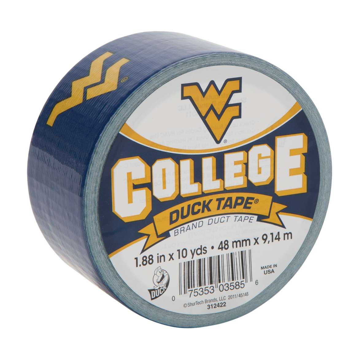 "Duck Brand Duct Tape, College Logo Duck Tape, 1.88"" x 10 yard, West Virginia Mountaineers"