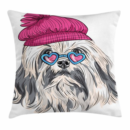 Indie Throw Pillow Cushion Cover, Lion Bichon Lowchen Breed Cute Dog with Heart Shaped Glasses and French Hat Print, Decorative Square Accent Pillow Case, 16 X 16 Inches, Grey Pink Blue, by Ambesonne - Heart Shaped Glasses