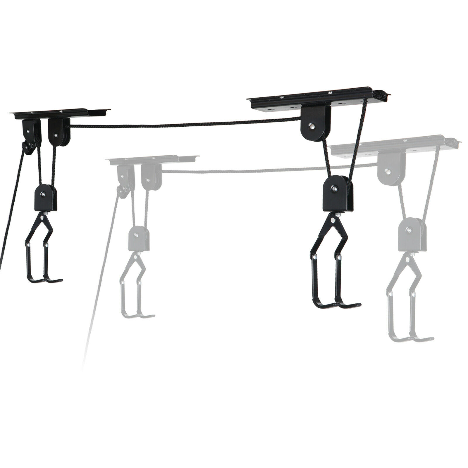 Details about  /Bike Bicycle Lift Ceiling Mounted Hoist Storage Safety Garage Hanger Pulley Rack