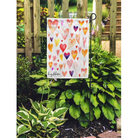 NUDECOR Pink Bright Pattern Valentine Day Watercolor Hearts Red Color Drawing Garden Flag Decorative Flag House Banner 12x18 inch - image 2 of 2