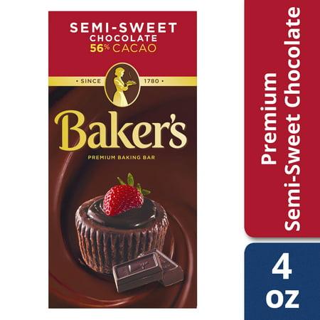 (3 Pack) Baker's Premium Semi-Sweet Chocolate Baking Bar, 4 oz Box - Firecracker Chocolate