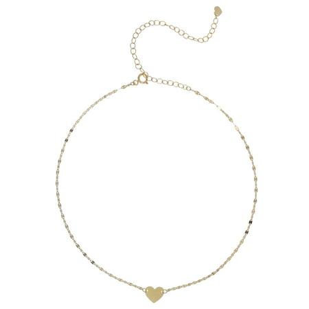 10K Yellow Gold Heart Pendant Choker Necklace, 12