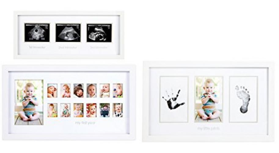 White Pearhead Triple Sonogram Pregnancy Keepsake Frame