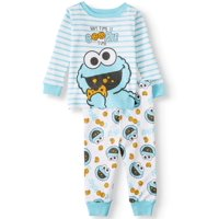 Sesame Street Long Sleeve Cotton Snug Fit Pajamas, 2-Piece Set (Baby Boys, 12M, 9M, 18M, 24M)