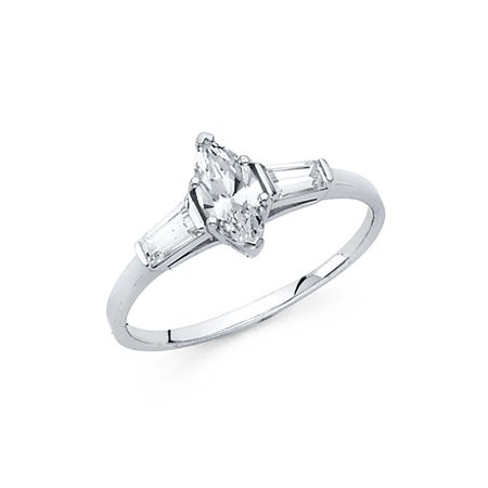 Marquise CZ Engagement Ring 14k White Gold Anniversary CZ Solitaire Baguette Side Stones Women Size (Marquise Solitaire Ring Mounting)