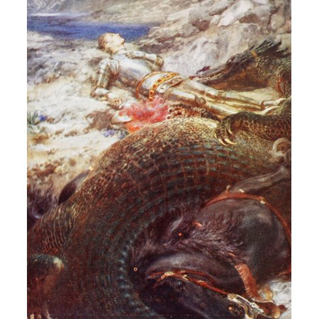 St George And The Dragon After A Painting By Briton Riviere From King AlbertS Book Published 1915 Here St George Is Asleep And His Horse Appears To Be Dead Probably He Represents A Sleeping Belgium