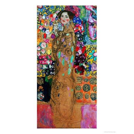 - Dame Mit Faecher (Maria Munk) Lady with Fan, 1917/18 Colorful Fine Art Portrait Painting of Woman Print Wall Art By Gustav Klimt