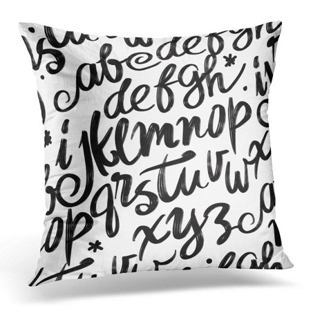 CMFUN Black ABC Alphabet Lettering and Custom for Designs for Handwritten Brush Style Modern Cursive Blackboard Pillow Case Pillow Cover 20x20 inch](Abc In Cursive)