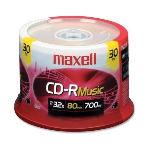 Maxell 625335 Music CD-Rs, 30-Count Spindle