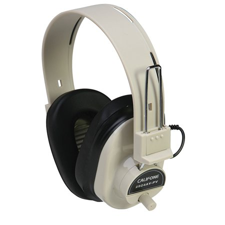 Mono Headphone Replaceable Coiled Cord - DELUXE MONO HEADPHONE FIXED COILED CORD W/ VOLUME CONTROL