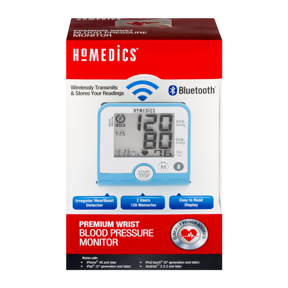 HoMedics Premium Wrist Blood Pressure Monitor with Bluetooth