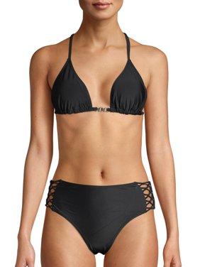 XOXO Women's Macrame Triangle Bikini Top And Hipster Bottom Swimsuit Set