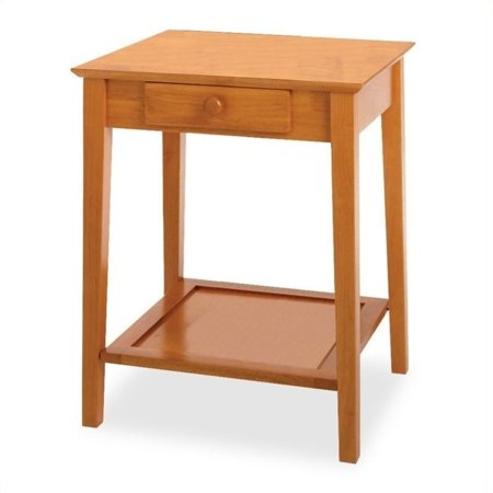 Pemberly Row Solid Wood Printer Stand / End Table in Honey