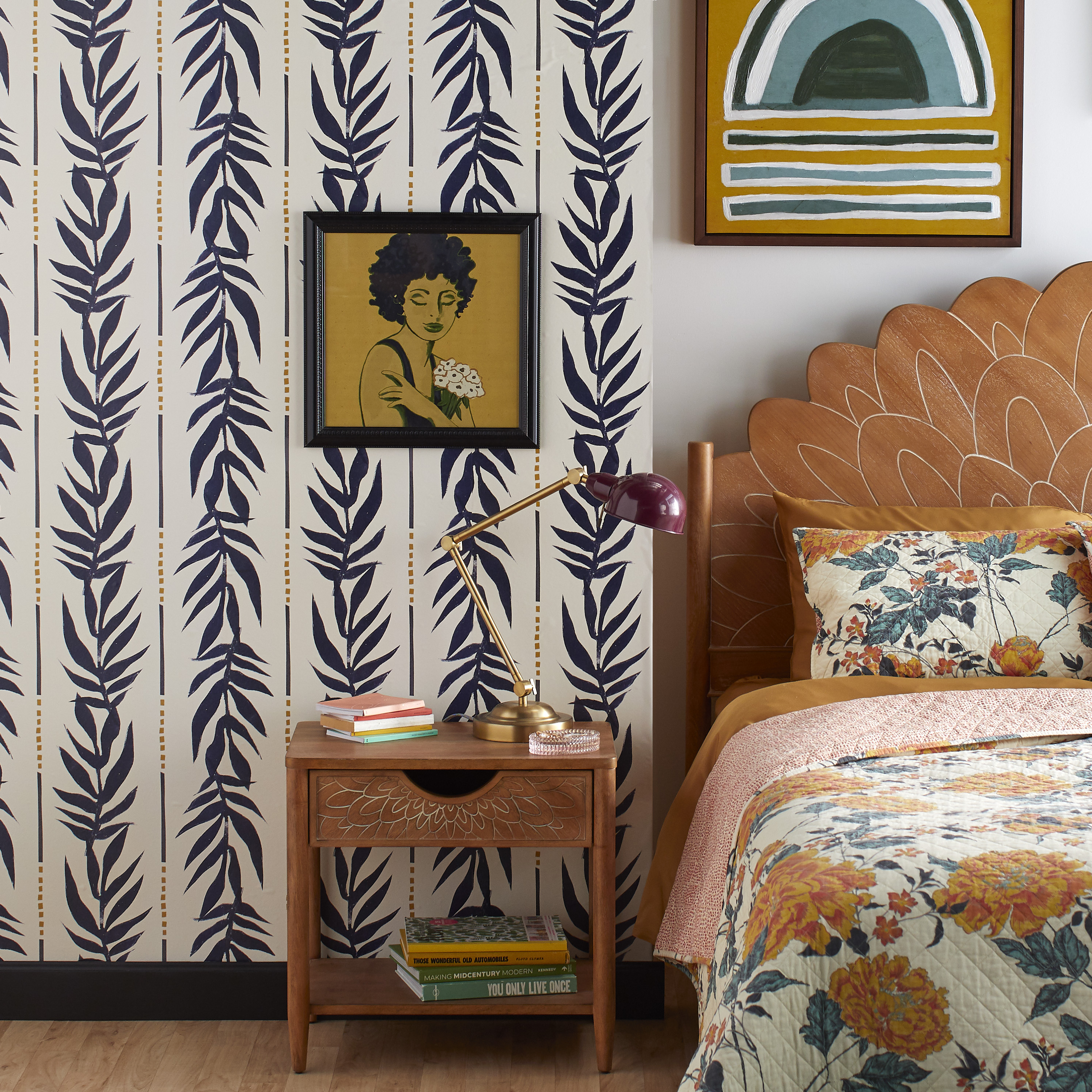 Navy Vintage Palm Peel And Stick Wallpaper By Drew Barrymore