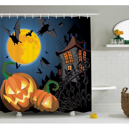 Halloween Decorations Shower Curtain, Gothic Halloween Haunted House Party Theme Decor Trick or Treat for Kids, Fabric Bathroom Set with Hooks, 69W X 70L Inches, Multi, by - Halloween Bathroom Decor