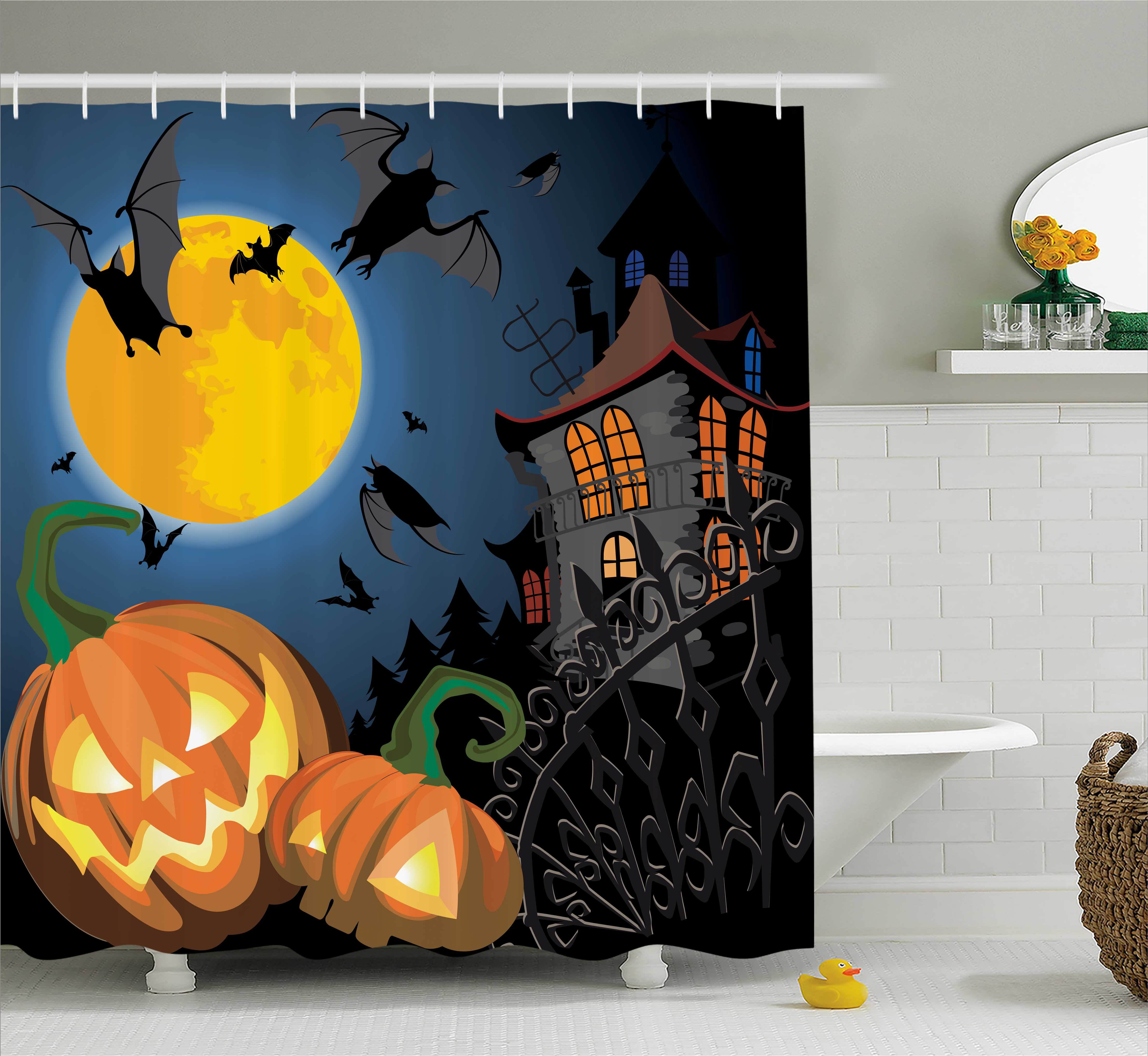 Halloween Decorations Shower Curtain, Gothic Halloween Haunted House Party Theme Decor Trick or Treat for Kids, Fabric Bathroom Set with Hooks, 69W X 70L Inches, Multi, by Ambesonne