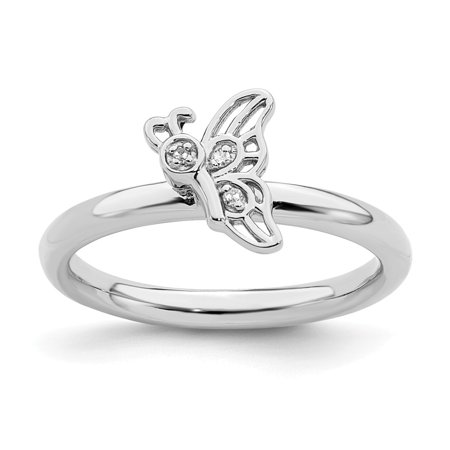 Roy Rose Jewelry Sterling Silver Stackable Expressions Rhodium Butterfly w/Diamond Ring Size 7