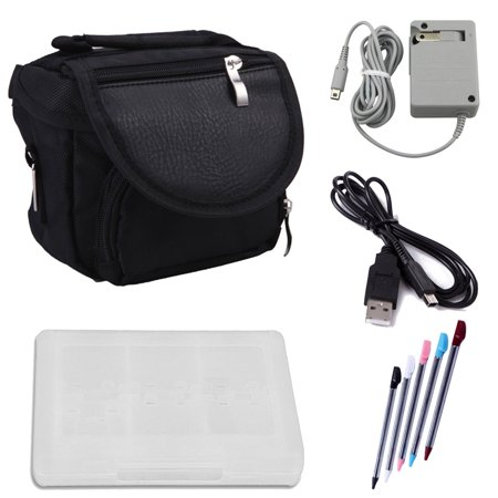 HDE Travel Bag Bundle for Nintendo 3DS Travel Bag Carrying Case + Game Card Holder + 5-Pack Retractable Stylus Pens + USB Charger Cable + AC Power Adapter (Nintendo 3DS XL, 3DS, DSi XL, DSi, DS Lite) (Memory Card For Ds Xl)