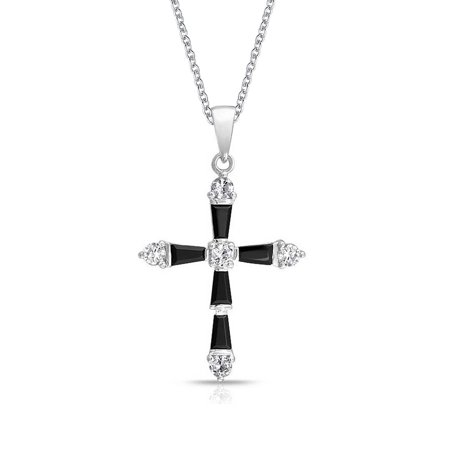 - Vintage Style Black and White Baguette Cross Pendant Rhodium Plated Necklace For Women 18 Inches