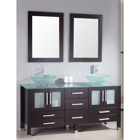(Cambridge  63 inch solid wood vanity with frosted glass counter top and two matching vessel sinks. Two long-stemmed)