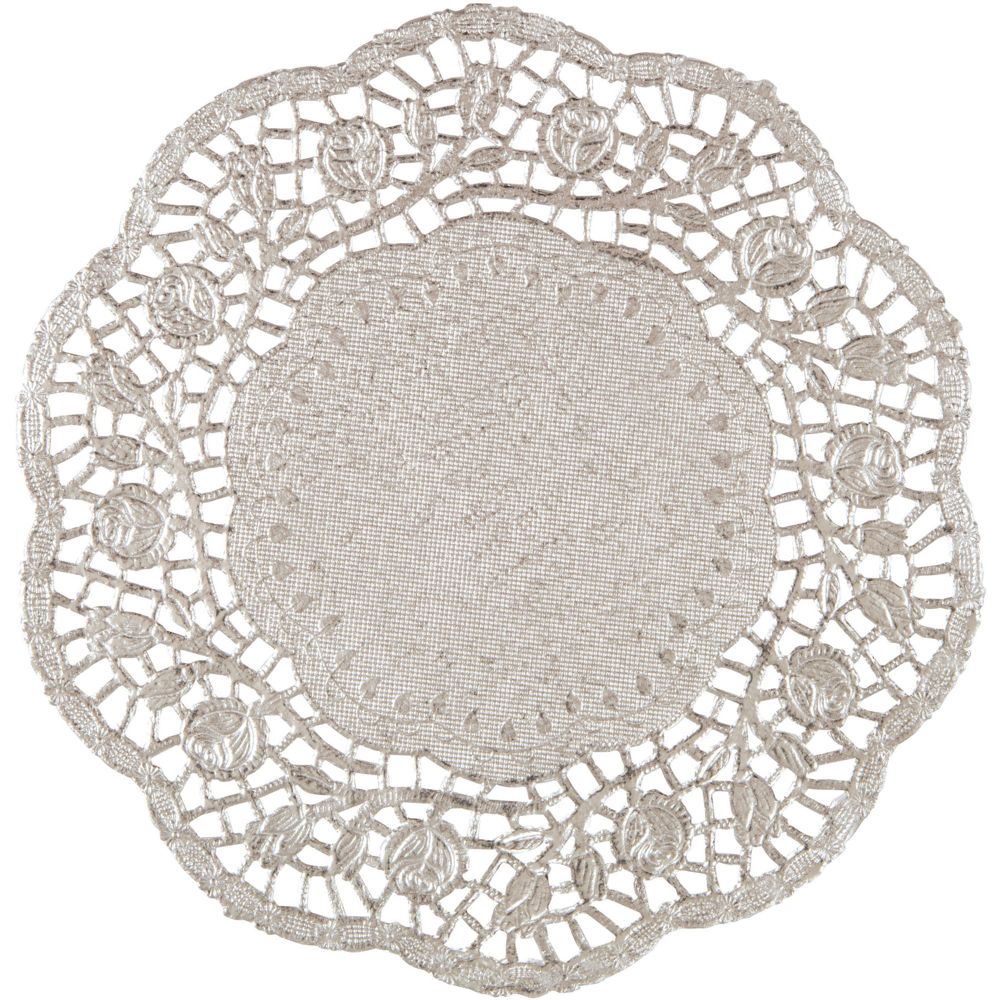 Paper Doilies, 8.25 in, Foil Silver, 4ct