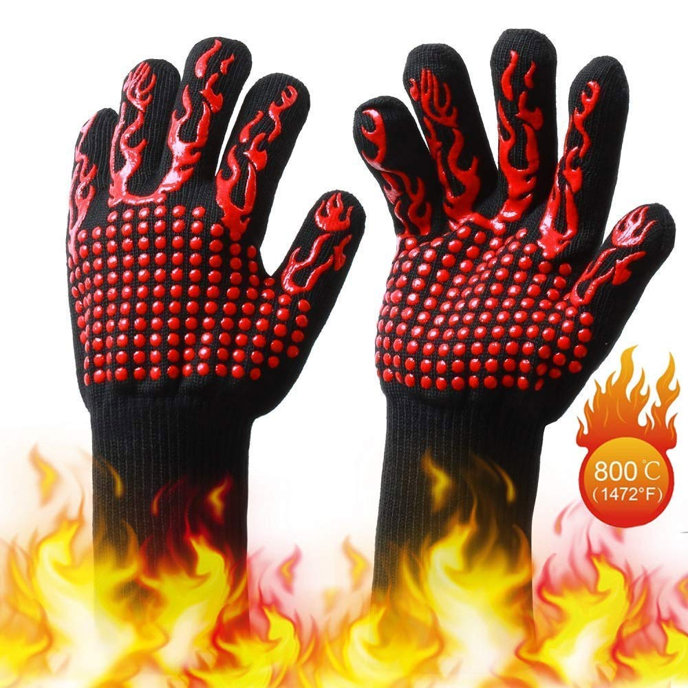 1pc BBQ Grill Gloves 800°C Heat Resistant for Garden Outdoor Cooking Black