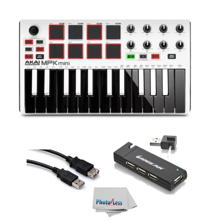 Akai MPK Mini MK2 25-Key USB MIDI Keyboard Controller White + USB Hub +  Cable