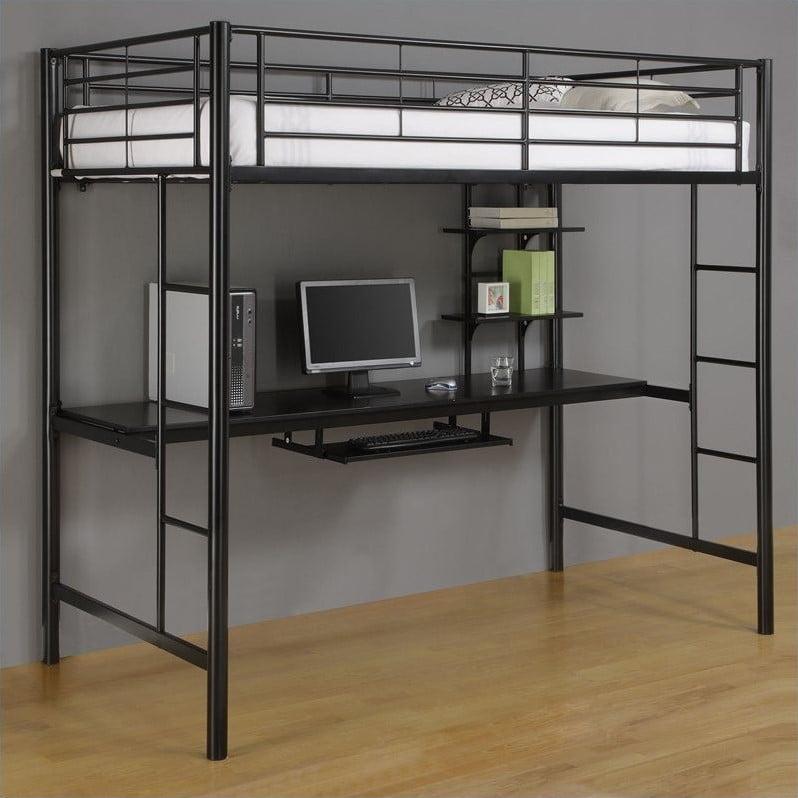 Metal Twin Workstation Desk Loft Bunk Bed In Black