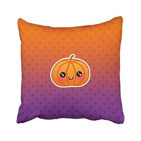 WinHome Decorative Pillowcases Cute Kawaii Halloween Pumpkin Design Throw Pillow Covers Cases Cushion Cover Case Sofa 18x18 Inches Two Side - Kawaii Halloween Pumpkin