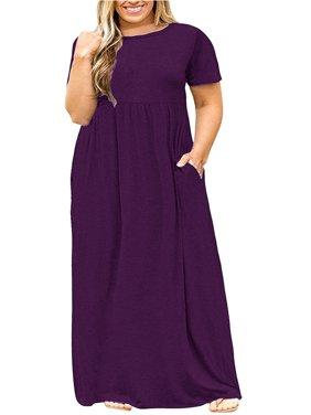 0bbf083f01c7a2 Product Image L-5XL Plus Size Women s Solid Color Casual Long Dress with  Pocket