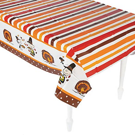 Peanuts Snoopy Thanksgiving Plastic Table Cover (1ct) - Peanuts Thanksgiving