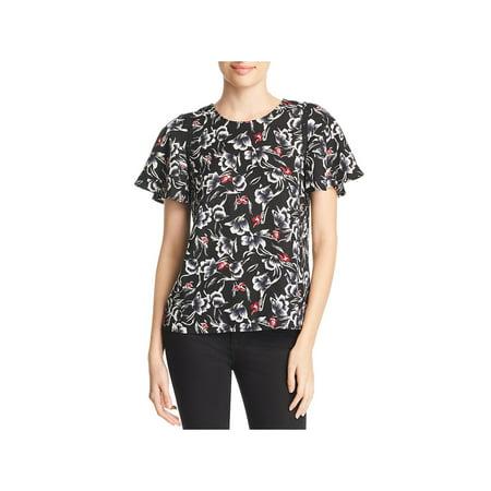 Vero Moda Womens Alvina Floral Print Short Sleeve Pullover Top Short Sleeve Printed Zip