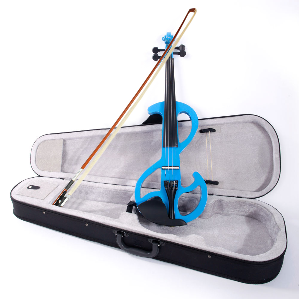 Ktaxon Blue 8 Pattern Electroacoustic  Violin - Full Size +Case + Bow + Rosin