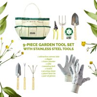 GardenHOME 9-Piece Garden Tools with Canvas Storage Tool Set Tote and Gardening Gloves