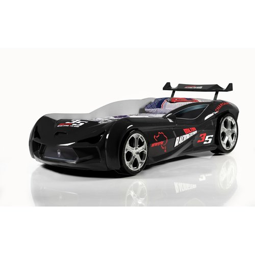 Zoomie Kids Mia Kids Race Twin Car Bed with Euro Mattress