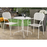 """Alfresco Home Martini 3 Piece Bistro Set in Bianca Finish with 27.5"""" Round Bistro Table and 2 Stackable Bistro Chairs"""
