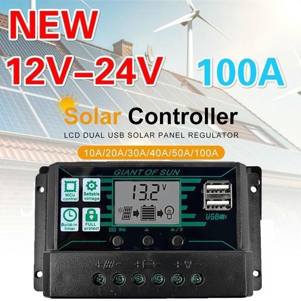 10A-30A MPPT 12V//24V Solar Charger Controller USB Dual Solar Panel Regulator