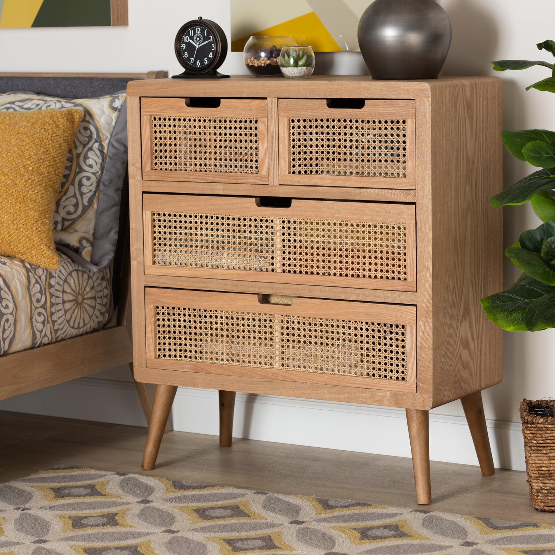 Baxton Studio Alina Mid-Century Modern Medium Oak Finished Wood