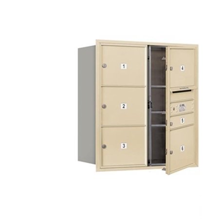 Salsbury 3709D-06SFP 4C Horizontal Mailbox Includes Master Commercial Lock - 9 Door High Unit - 34 Inches - Double Column - 1 Mb1 Door - 5 Mb3 Doors - Sandstone - Front Loading - Private Access Double Front Sandstone Work Dungaree